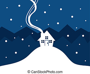 House Snow Silhouette - House silhouette with show falling