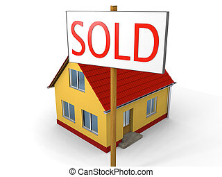 House sold - Miniature model of a family house and sign...