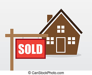 House Sold Sign - House with red sold sign outside