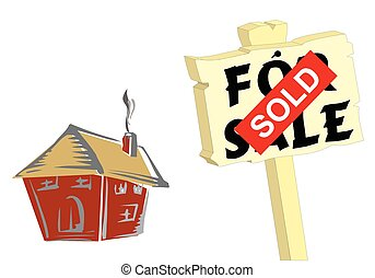 House sold sign - House with for sale and sold sign isolated...