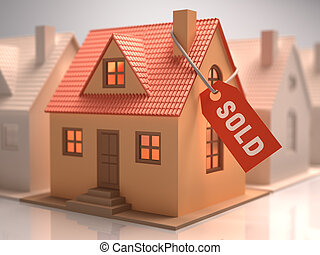 House Sold - Small house with red label written sold.