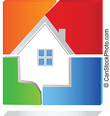 House in abstract shape square logo vector