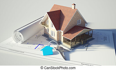 House standing on the blueprints - Conceptual image of a...