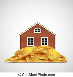 House stands on a pile of gold coins. Real estate valuation.