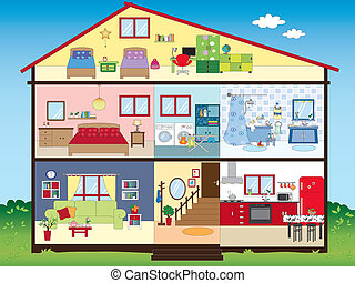 house - illustration of funny interior house