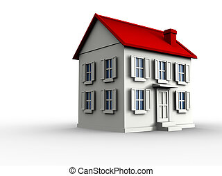 House - 3d render illustration of a house over white