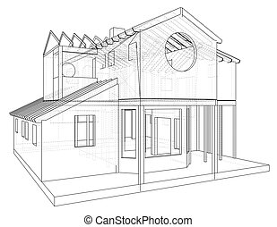 House structure architecture. Abstract drawing. Tracing illustration of 3d