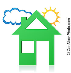 house sun and cloud concept illustration