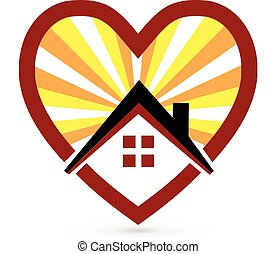 House sun and heart logo