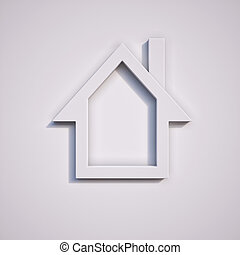 House symbol on white background rendered illustration