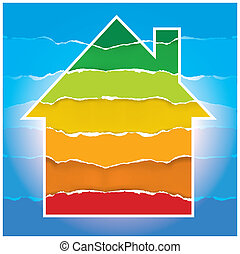 House symbol with Energy scale - Energy performance scale....