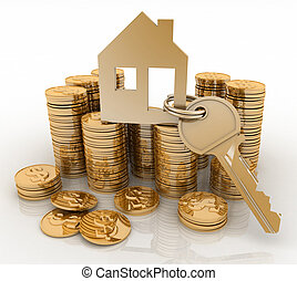 house symbol with key and money - 3d house symbol with key ...