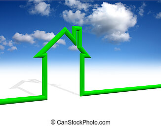 House symbol with sky background - House wireframe symbol ...