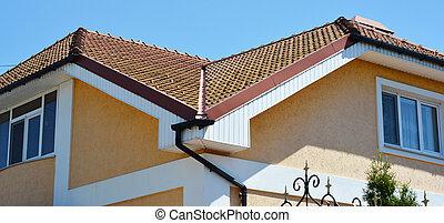 house., système, pluie, rouges, carrelé, argile, fascia, ...