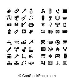 House system icons. Set icons of electricity, heating, plumbing,