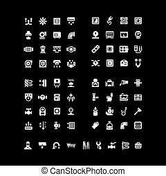 House system icons. Set icons of ventilation, electricity, heating, sewerage, plumbing