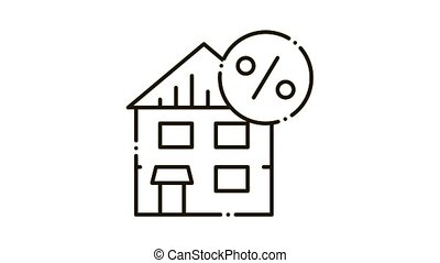 House Tax Percent Icon Animation. black House Tax Percent animated icon on white background