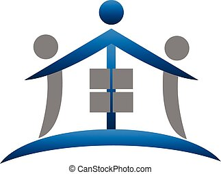 House teamwork real estate logo