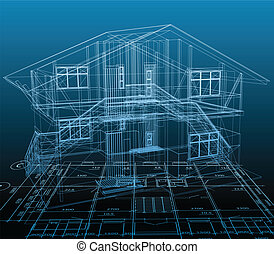 House technical draw. Vector blue background - House...