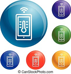 House temperature smart control icons set vector