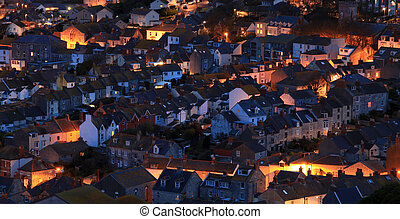 House - Terraced houses at night time on portland dorset