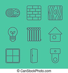 Thin Line Icons set. Vector