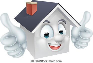 House Thumbs Up Man Character - A happy cartoon house man...