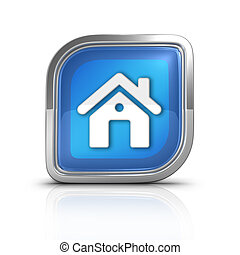 House Time Blue Icon Sign