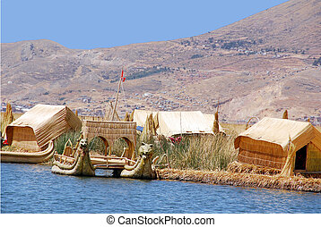 Titicaca lake Peru. The dense root that the plants develop and interweave form a natural layer called Khili about one to two meters thick that support the islands