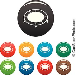 House trampoline icons set color