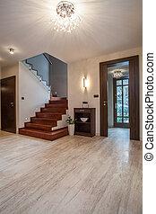 house:, travertine, escalera