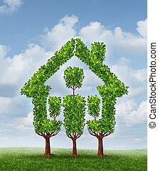 House Tree as a symbol of real estate planning and family home investing for property wealth strategy as a group of three trees lanscaped to come together to form the shape of a residential structure on a sky background.