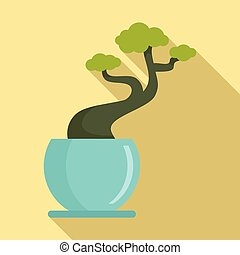 House tree pot icon, flat style