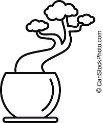 House tree pot icon, outline style