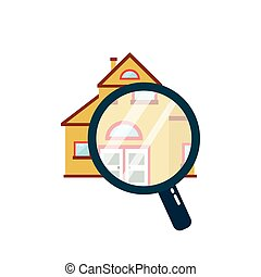House under a magnifying glass. Vector