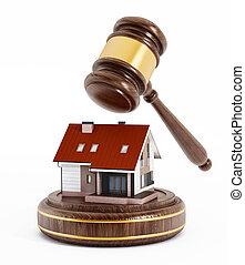 House under a wooden gavel. 3D illustration