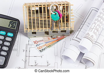 House under construction, keys, calculator, currencies euro and electrical drawings, concept of building home