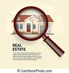 House under magnifying glass. Vector illustration of real estate