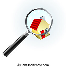 House Under Magnifying Glass Original Vector Illustration...