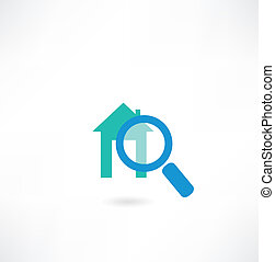 House under the magnifying glass icon