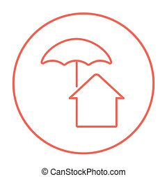 House under umbrella line icon.