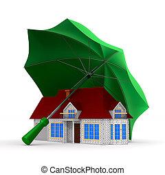 house under umbrella on white background. isolated 3d illustration