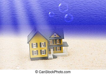 House Underwater - A house underwater sitting in the sand, ...