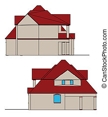House. Vector - CAD elevations for a house front rear