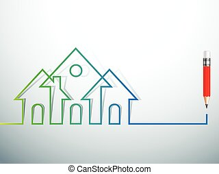 house vector - design house Real Estate icon with pencil. ...
