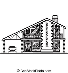 House vector graphics - House or cottage, a carport and a...