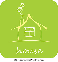 House - Vector Icon - Green House - isolated vector icon on...