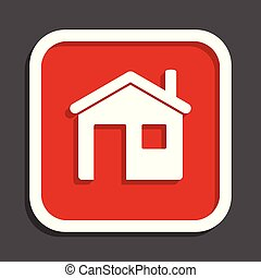 House vector icon. Flat design square internet red button.