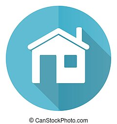 House vector icon, home, flat design blue round web button isolated on white background
