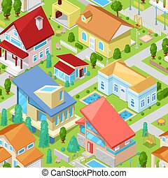 House vector isometric housing architecture or residential home illustration set of housekeeping building exterior or cottage construction isolated on background
